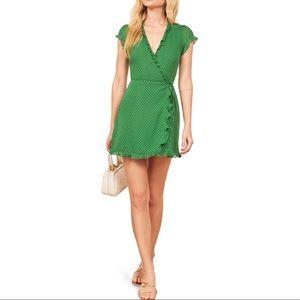Reformation Green Wrap Sicilia Dress